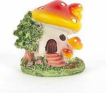 Rotes Pilzhaus mit geschlossener Tür aus Harz DIY Gartendeko Puppenhaus-Ausschmückung Miniatur Mini-Welt als Geschenk