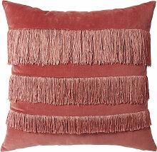 Rotes Samtkissen mit rosafarbene Fransen 45x45