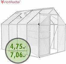 Rotfuchs® Aluminium Gewächshaus Treibhaus Frühbeet Gartenhaus Tomatenhaus Pflanzenhaus 7,06 m³ - 2,50 x 1,90 m Dachplatten 6 mm Fundament optional