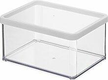 Rotho 1161090000 Vorratsdose Premium Loft - Aromadichte Aufbewahrungsbox - BPA-freie Frischhaltedosen, Inhalt 2.25 L - Form Rechteckig, Kunststoff, transparent mit weißer Dichtung, 20 x 15 x 9.6 cm
