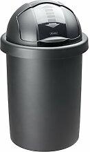 """Rotho 1721308080 Mülleimer """"Roll Bob"""" 30 L - 35.5 x 35.5 x 59.5 cm - Papierkorb aus Kunststoff (PP) in Schwarz - Abfallbehälter mit Schiebedeckel Abfalleimer, Plastik"""