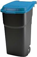 Rotho 4510106645 Mülltonne mit Klappdeckel und Rollen aus Kunststoff PP, Abfall-/Roll eimer, 100 L, schwarz / blau
