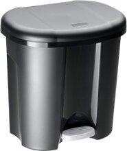 Rotho DUO Abfalleimer, 20 Liter, Tret-Mülleimer,