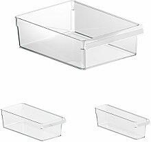 Rotho Loft Kühlschrank Organizer (Robuster Aufbewahrungsbehälter für Salat, Gemüse, Fleisch, Set bestehend aus 3 verschiedenen Grössen, 3er Set) Transparen