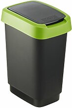 """Rotho Mülleimer """"Twist"""" 10 Liter - 24.8 x 18.1 x 33 cm - Papierkorb aus Kunststoff (PP) in schwarz/grün - Abfallbehälter mit Schwing- oder Klappdeckel"""