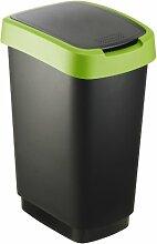 """Rotho Mülleimer """"Twist"""" 25 Liter - 33.3 x 25.2 x 47.6 cm - Papierkorb aus Kunststoff (PP) in schwarz/grün - Abfallbehälter mit Schwing- oder Klappdeckel"""