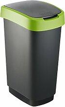 """Rotho Mülleimer """"Twist"""" 50 Liter - 40.1 x 29.8 x 60.2 cm - Papierkorb aus Kunststoff (PP) in schwarz/grün - Abfallbehälter mit Schwing- oder Klappdeckel"""