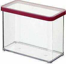 Rotho Vorratsdose Premium Loft - aromadichte Aufbewahrungsbox - BPA-freie Frischhaltedosen - Kunststoffbehälter ist spülmaschinentauglich - Inhalt 2.1 l - Form rechteckig - ca. 20 x 10 x 14.2 cm (LxBxH) - transparent/transparent- 1160700096