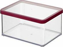 Rotho Vorratsdose Premium Loft - aromadichte Aufbewahrungsbox - BPA-freie Frischhaltedosen - Kunststoffbehälter ist spülmaschinentauglich - Inhalt 2.25 l - Form rechteckig breit - ca. 20 x 15 x 9.6 cm (LxBxH) - transparent/transparent- 1161000096