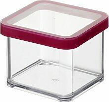 Rotho Vorratsdose Premium Loft - aromadichte Aufbewahrungsbox - BPA-freie Frischhaltedosen - Kunststoffbehälter ist spülmaschinentauglich - Inhalt 0.5 l - Form quadratisch - ca. 10 x 10 x 7.2 cm (LxBxH) - transparent/transparent- 1160300096