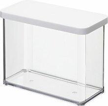 Rotho Vorratsdose Premium Loft - aromadichte Aufbewahrungsbox - BPA-freie Frischhaltedosen - Kunststoffbehälter ist spülmaschinentauglich - Inhalt 2.1 l - Form rechteckig - ca. 20 x 10 x 14.2 cm (LxBxH) - transparent/Weiß- 1160701100