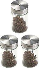 Rotierender Edelstahl Deckel Klar Glas Gewürz Jar
