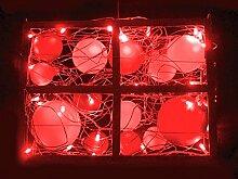 Rotpfeil Deko-Fenster LED 40 Glaskugeln - Dekobeleuchtung - Innenbeleuchtung - Rot/Weiß