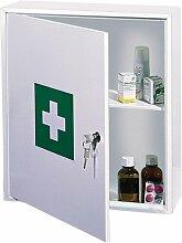 Rottner Medikamentenschrank MK1 aus Stahlblech mit Zylinderschloss, Medizinschrank, Hausapotheke