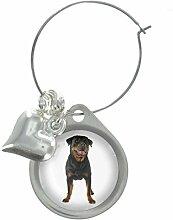 Rottweiler Hund Bild Design Weinglas Anhänger mit schicker Perlen