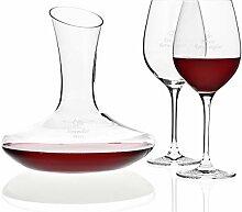 Rotwein-Set mit Gravur   edles Dekanter und 2