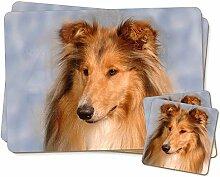 Rough Collie Hund Zwillings Platzdeckchen und