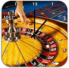 Roulette Tisch in Las Vegas, Wanduhr Quadratisch Durchmesser 48cm mit schwarzen spitzen Zeigern und Ziffernblatt, Dekoartikel, Designuhr, Aluverbund sehr schön für Wohnzimmer, Kinderzimmer, Arbeitszimmer