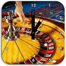 Roulette Tisch in Las Vegas, Wanduhr Quadratisch Durchmesser 28cm mit schwarzen eckigen Zeigern und Ziffernblatt, Dekoartikel, Designuhr, Aluverbund sehr schön für Wohnzimmer, Kinderzimmer, Arbeitszimmer