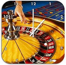 Roulette Tisch in Las Vegas, Wanduhr Quadratisch Durchmesser 48cm mit weißen spitzen Zeigern und Ziffernblatt, Dekoartikel, Designuhr, Aluverbund sehr schön für Wohnzimmer, Kinderzimmer, Arbeitszimmer