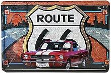 Route 66 Auto Blechschild Weinlese Metallplakette Poster Bar Hauptwanddekor