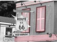 Route 66 Fotodruck in Babyrosa ModernMoments