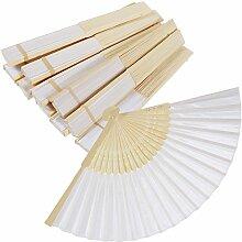 Rovtop 12er Weiß Fächer Handfächer Seide Faltfächer Hand gehaltener beweglicher Ventilator für Hochzeitsfest-Bevorzugung / Tanzen-Stützen / DIY Geschenk