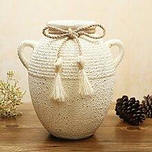 ROWOSEN Vintage keramikvase,Rustikale bindfäden wohnzimmer dekoration Heimtextilien-B