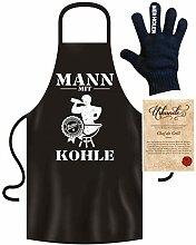 Roxyshirt Schürze Grillzange Grillhandschuh Mann