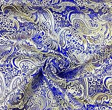 Royal Blau & Gold Paisley Metallic Brokat Stoff 152,4cm W Tischdecke Tuch Kleid