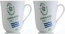 Royal Copenhagen - Becher mit Henkel / Henkelbecher - Weiß Gerippt - Signatur (2-teilig) 330 ml