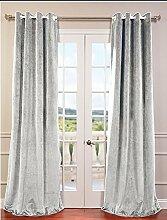 royal-fascination Fenster/Tür 100% Dicke Baumwolle Samt Gefüttert Verdunklungsvorhänge mit Thermoeffekt/gormmet Vorhang, Samt, silber, 50''w X 144''h