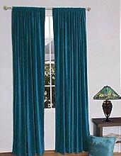 royal-fascination Fenster/Tür 100% Dicke Baumwolle Samt Gefüttert rodpocket Vorhang, verdunkelnd,, Samt, blaugrün, 66''w X 72''h