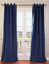 """royal-fascination Fenster/Tür 100% Dicke Baumwolle Samt Gefüttert Verdunkelung rodpocket curtain-50""""""""W x 241,3cm h-navy blau"""