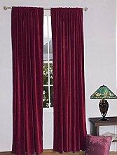 royal-fascination Fenster/Tür 100% Dicke Baumwolle Samt Gefüttert rodpocket Vorhang, verdunkelnd,, Samt, wein, 50''w X 120''h