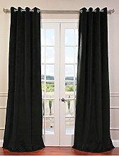 royal-fascination Fenster/Tür 100% Dicke Baumwolle Samt Gefüttert Verdunklungsvorhänge mit Thermoeffekt/gormmet Vorhang, Samt, schwarz, 50''w X 120''h