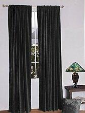 royal-fascination Fenster/Tür 100% Dicke Baumwolle Samt Gefüttert rodpocket Vorhang, verdunkelnd,, Samt, schwarz, 90''w X 90''h
