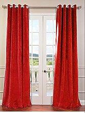 royal-fascination Fenster/Tür 100% Dicke Baumwolle Samt Gefüttert Verdunklungsvorhänge mit Thermoeffekt/gormmet Vorhang, Samt, rubinrot, 66''w X 54''h