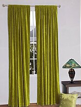 royal-fascination Fenster/Tür 100% Dicke Baumwolle Samt Gefüttert rodpocket Vorhang, verdunkelnd,, Samt, zitrone, 50''w X 132''h