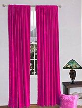 royal-fascination Fenster/Tür 100% Dicke Baumwolle Samt Gefüttert rodpocket Vorhang, verdunkelnd,, Samt, fuchsia, 46''w X 72''h