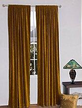 royal-fascination Fenster/Tür 100% Dicke Baumwolle Samt Gefüttert rodpocket Vorhang, verdunkelnd,, Samt, gold, 66''w X 72''h