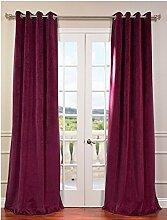 """royal-fascination Fenster/Tür 100% Dicke Baumwolle Samt Gefüttert Verdunkelung rodpocket curtain-46""""""""W x 228,6cm h-wine"""