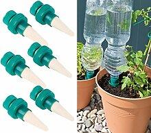 Royal Gardineer Pflanzen Bewässerung: Pflanzen-Bewässerungssystem mit Tonspitze und Flaschenaufsatz, 6er-Set (Bewässerung Flaschenaufsatz)