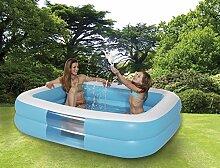 Royalbeach Jumbo-Pool   rechteckig   ohne Phthalatweichmacher   ca. 196 x 148 x 46 cm   2 Luftkammern   2-in-1 Ventile   mit Wasserablass-Ventil