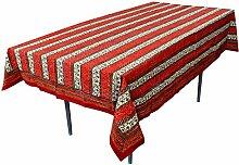 RoyaltyRoute rot Floral rechteckige Tischdecken in Baumwolle Stoff indische Tisch Dekor 225 x 150 Cm