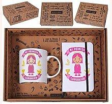 Roymart clm-450Set Geschenkbox mit Botschaft, Tasse und Notizbuch A6mit Gummi, Keramik, 25x 7x 20cm