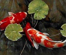 RQMQRL Chinesische Koi Fisch Lotus Leinwand Feng