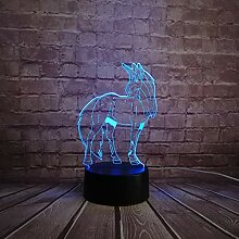 RQMQRL Tier Einhorn Pferd 3D Illusion Led
