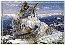 Rrfwq Wolf Liegen auf dem Stein Bad Teppiche