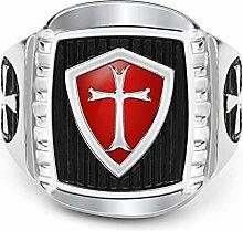 RSCD Männer Mode Ringe Kreuz Ringe Herrschsüchtig Ringe Titan Trendy Party Geschenk,SteelColor-11#